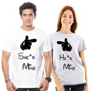 He Is Mine, She Is Mine - Couple Tshirt White