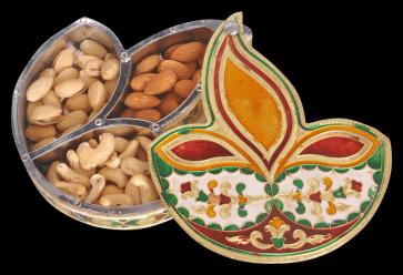 Diya / Dipak Shaped Minakari Decorative Dryfruit cum Mukhwas Box