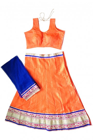 Exclusive Orange Cotton Silk Navratri Chaniya Choli Buy Online India