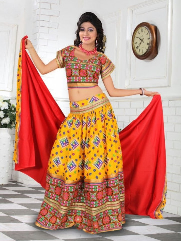 Dark Yellow Cotton Chaniya Choli For Navratri 2016 Buy