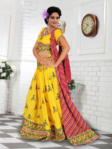Exclusive Yellow Cotton Traditional Chaniya Choli For
