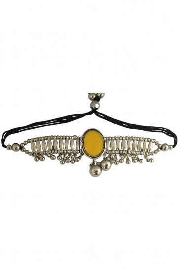 Buy Silver Yellow Bajubandh with Ghughari For Navratri Online for India & International Delivery, Cash On Delivery available for selected locations