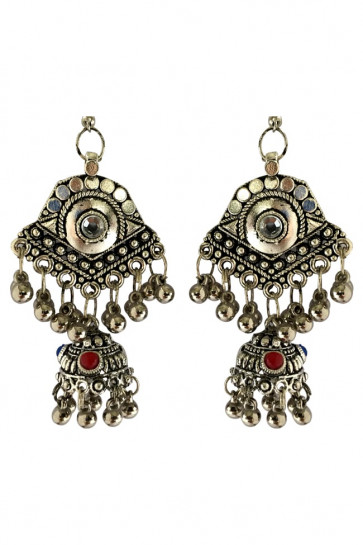 Buy Oxidized Multicolor Joomkha with Ghughari For Navratri Online for India & International Delivery, Cash On Delivery available for selected locations