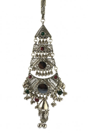 Buy Oxidized Multicolor Juda with Ghughari & Mirror For Navratri Online for India & International Delivery, Cash On Delivery available for selected locations