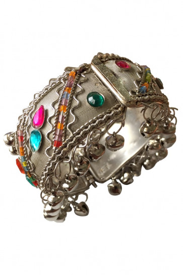 Buy Oxidized Fancy Multicolor Kada with Ghughari (Small) For Navratri Online for India & International Delivery, Cash On Delivery available for selected locations