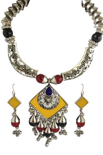 Buy Oxidized Necklace Set (Red & Yellow) For Navratri Online for India & International Delivery, Cash On Delivery available for selected locations