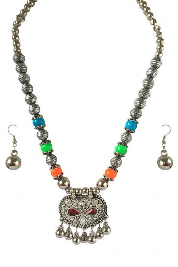 Buy Multicolor Oxidized set, Pendant with Red  Stone For Navratri Online for India & International Delivery, Cash On Delivery available for selected locations