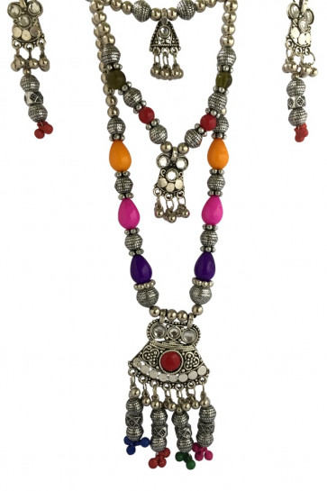 Buy Multicolor Oxidized Western Long set,  Pendant with Ghughari For Navratri Online for India & International Delivery, Cash On Delivery available for selected locations