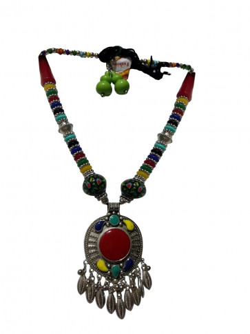 Multicolor Western Necklace with Earings (Long) (Fashion)