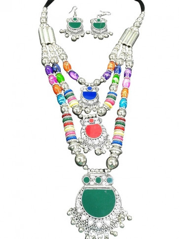 Western Multicolor Three Layer Necklace with Earings (Fashion)
