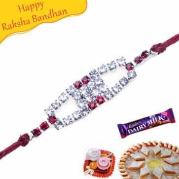 Buy American Diamond Rakhi Online on Rakshabandhan with India, worldwide delivery options
