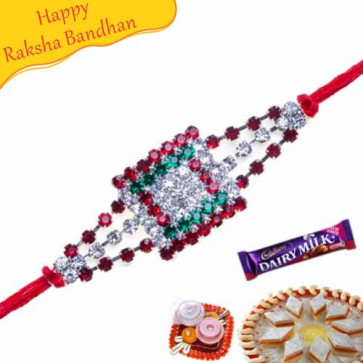 Buy American Diamond Square Rakhi Online on Rakshabandhan with India, worldwide delivery options