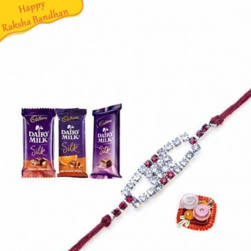 Buy 3 DairyMilk Silk With Rakhi Online on Rakshabandhan with India, worldwide delivery options