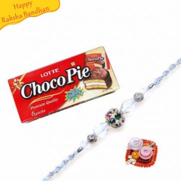 Buy 168 gm Lotte Choco Pie-Chocolate Pie With Rakhi Online on Rakshabandhan with India, worldwide delivery options