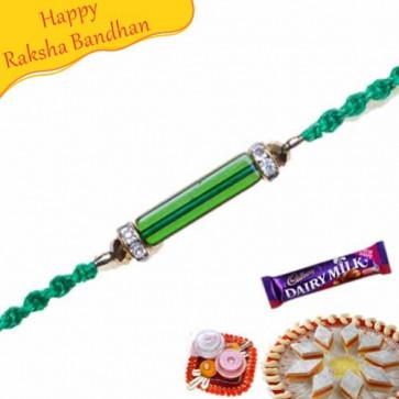 Buy Crystal Pipe With American Diamond Rakhi Online on Rakshabandhan with India, worldwide delivery options