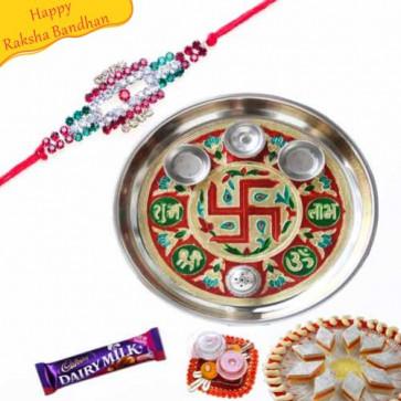 Buy Swastik Design Rakhi Thali Online on Rakshabandhan with India, worldwide delivery options