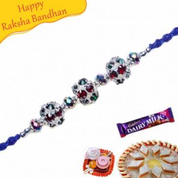 Buy Colourfull Balls Diamond Rakhi Online on Rakshabandhan with India, worldwide delivery options