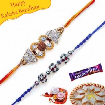 Buy Rudraksh Diamond Rakhi and Colourfull Pearl Rakhi Online on Rakshabandhan with India, worldwide delivery options