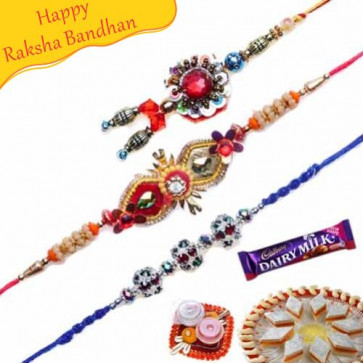 Buy Pearl and Red Crystal Rakhi Trio Online on Rakshabandhan with India, worldwide delivery options