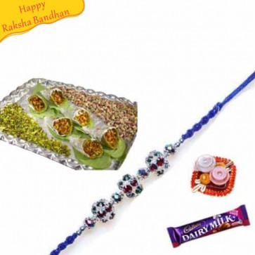 Buy Pista Con with rakhi Online on Rakshabandhan with India, worldwide delivery options