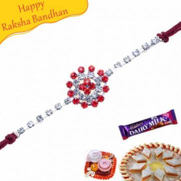 Buy Floral Design American Diamond Rakhi Online on Rakshabandhan with India, worldwide delivery options