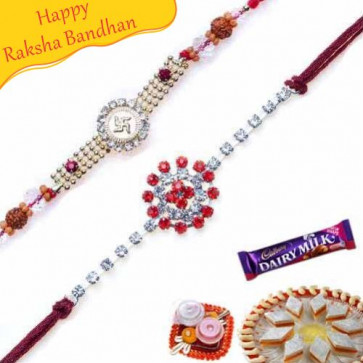 Buy Swastik Rudraksh Rakhi and American Diamond Rakhi Online on Rakshabandhan with India, worldwide delivery options