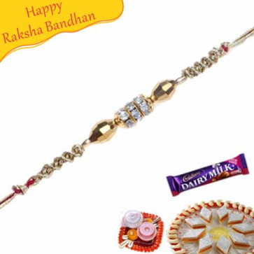 Buy Crystal Beads Diamond Rakhi Online on Rakshabandhan with India, worldwide delivery options