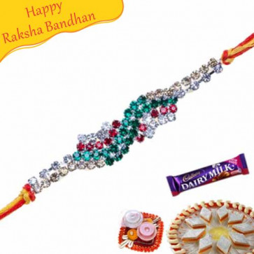 Buy Antique Work American Diamond Rakhi Online on Rakshabandhan with India, worldwide delivery options