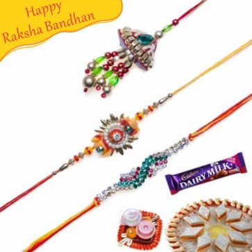 Buy Stones, Beads and Crystal Rakhis Trio Online on Rakshabandhan with India, worldwide delivery options