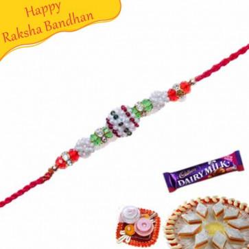 Buy Multi Beads, Diamond Pearl Rakhi Online on Rakshabandhan with India, worldwide delivery options