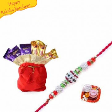 Buy Chocolates Potli With Rakhi Online on Rakshabandhan with India, worldwide delivery options