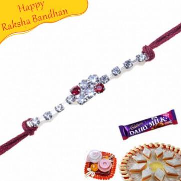 Buy American Diamond Beads Diamond Rakhi Online on Rakshabandhan with India, worldwide delivery options