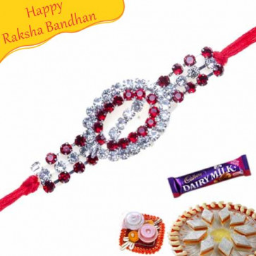 Buy Oval Shape American Diamond Rakhi Online on Rakshabandhan with India, worldwide delivery options