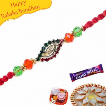 Buy American Diamond Hoop With Multicolour Pearls Rakhi Online on Rakshabandhan with India, worldwide delivery options