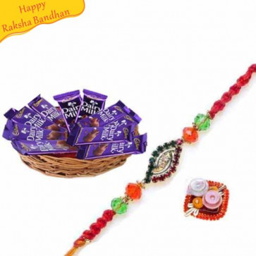 Buy Dairy Milk Basket Hamper With Rakhi Online on Rakshabandhan with India, worldwide delivery options