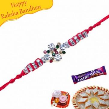 Buy American Diamond And Colourfull Diamond Rakhi Online on Rakshabandhan with India, worldwide delivery options