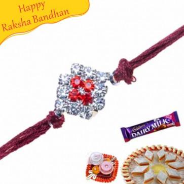 Buy Sober American Diamond Thread Rakhi Online on Rakshabandhan with India, worldwide delivery options