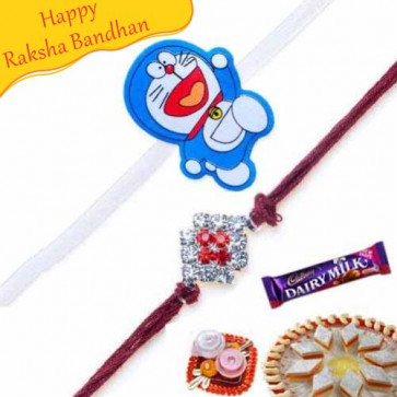 Buy Doremon Kids rakhi and Diamond Rakhi Online on Rakshabandhan with India, worldwide delivery options
