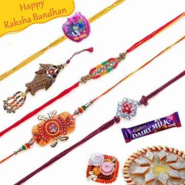 Buy Stone and Velvet Thread work Five Pieces Rakhi Set Online on Rakshabandhan with India, worldwide delivery options