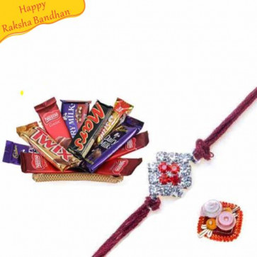 Buy Golden Tray With Chocolates With Rakhi Online on Rakshabandhan with India, worldwide delivery options