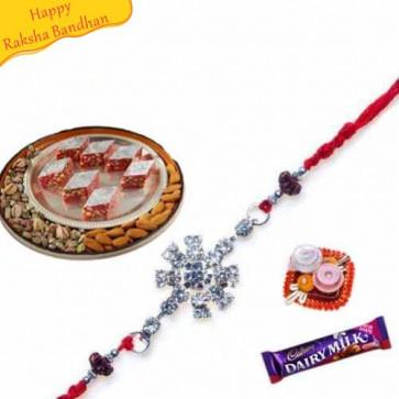 Buy Badam Pista katali with rakhi Online on Rakshabandhan with India, worldwide delivery options