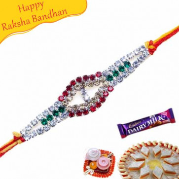 Buy Multicolour Diamond American Diamond Rakhi Online on Rakshabandhan with India, worldwide delivery options