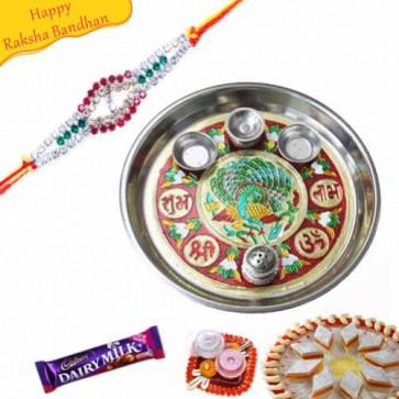 Buy Designer Rakhi Thali Online on Rakshabandhan with India, worldwide delivery options