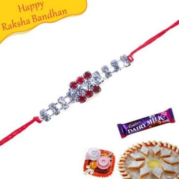 Buy American Diamond Hoop Rakhi Online on Rakshabandhan with India, worldwide delivery options