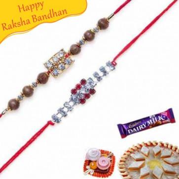 Buy Pearl Diamond and american Diamond Rakhi Online on Rakshabandhan with India, worldwide delivery options