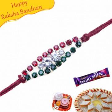 Buy American Diamond Hoop, Crystal Rakhi Online on Rakshabandhan with India, worldwide delivery options