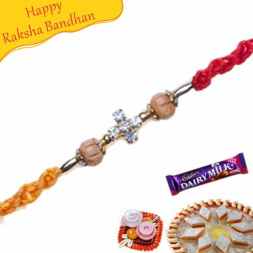 Buy Wooden Stone Beads Rakhi Online on Rakshabandhan with India, worldwide delivery options