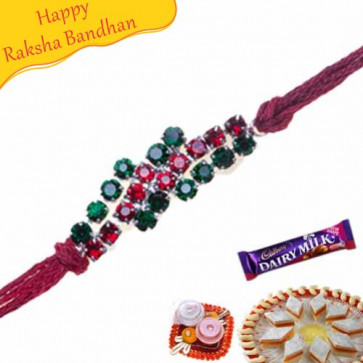 Buy Green And Red American Diamond Rakhi Online on Rakshabandhan with India, worldwide delivery options