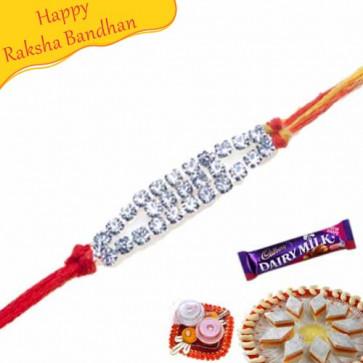 Buy White American Diamond Rakhi Online on Rakshabandhan with India, worldwide delivery options