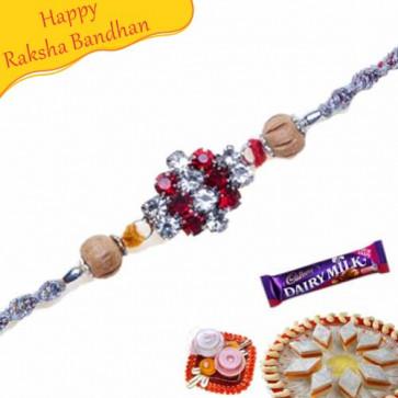 Buy American Diamond With Wooden Beads Diamond Rakhi Online on Rakshabandhan with India, worldwide delivery options